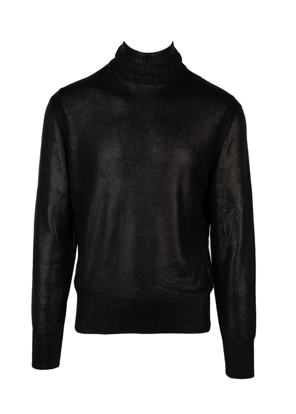Tom Ford Mens Black Sheen Silk Knit Turtleneck Sweater - Tribeca Fashion House