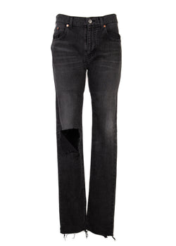 Balenciaga Womens Grey Distressed Raw Hem Skinny Jeans - ACCESSX
