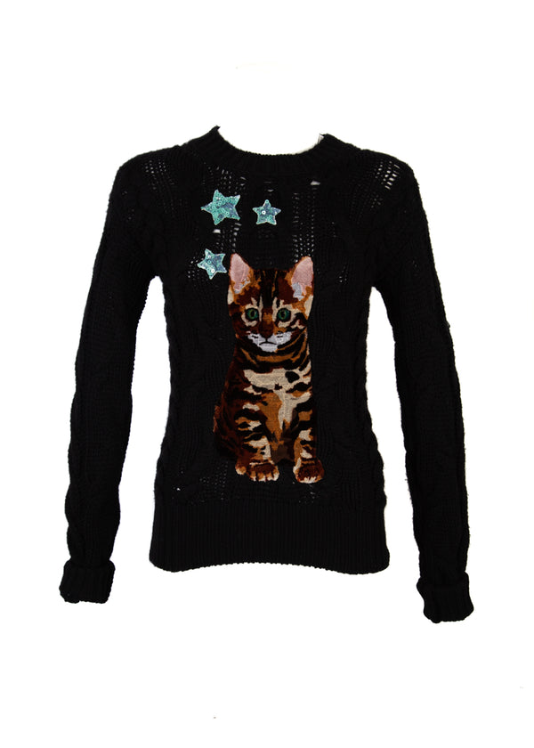 Dolce & Gabbana Womens Black Cashmere Cat Jumper Sweater - Tribeca Fashion House