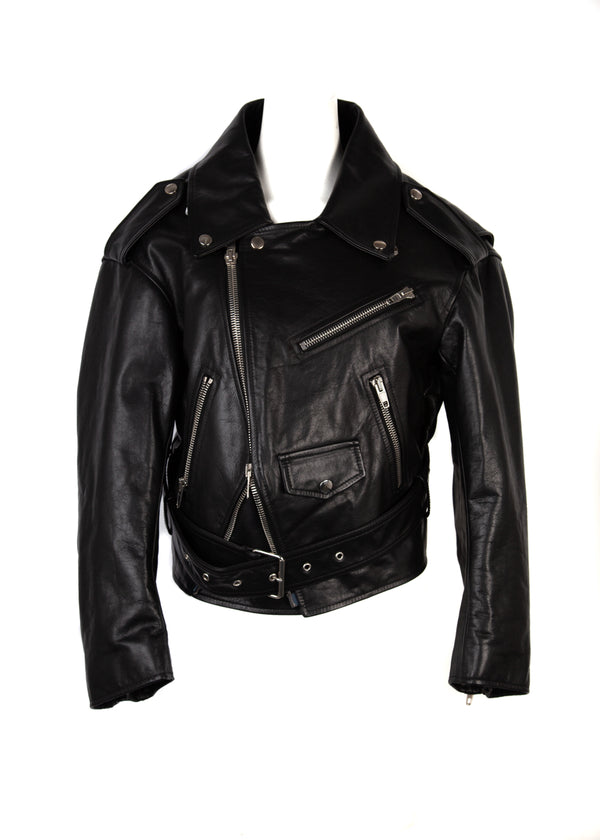 Balenciaga Womens Black Swing Oversized Leather Biker Jacket - ACCESSX