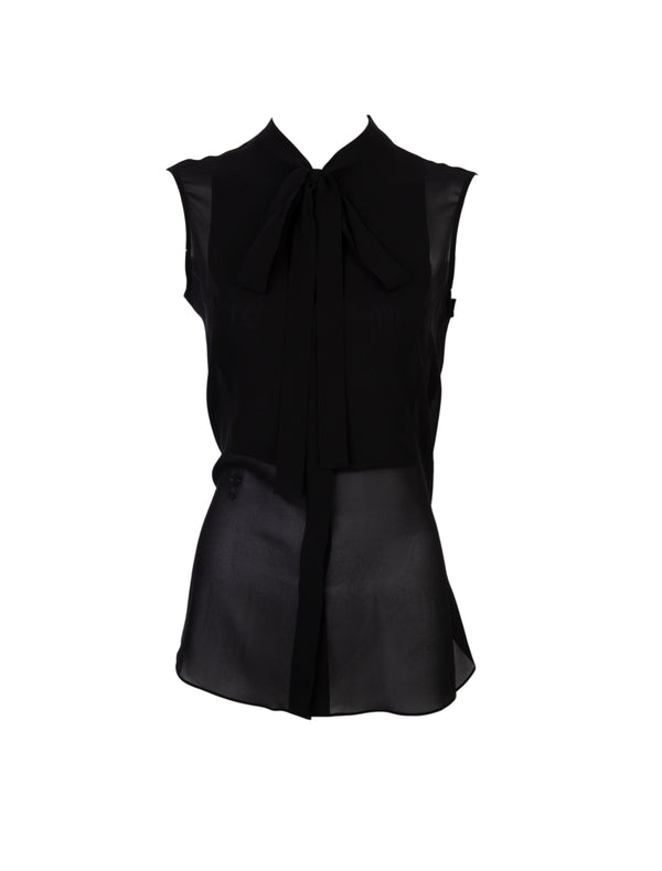 Dior Womens Black Silk Neck Tied Sleeveless Blouse - Tribeca Fashion House