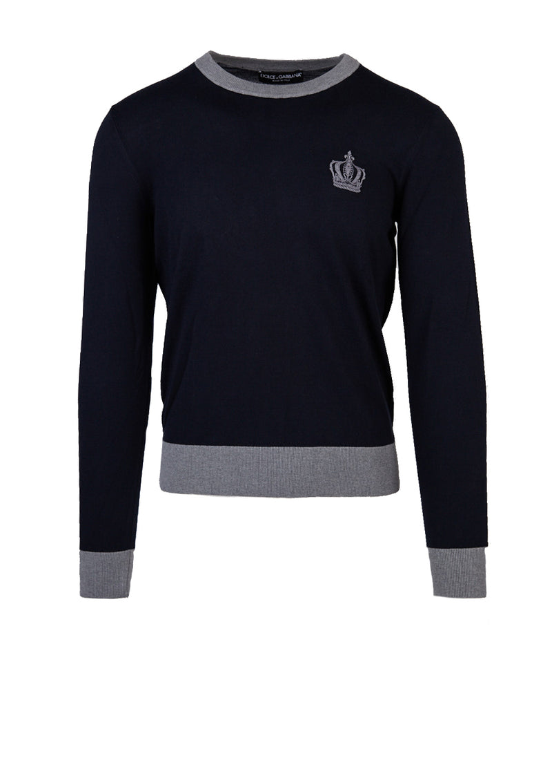 Dolce & Gabbana Mens Navy Embroidered Crown Crew Neck Sweater - ACCESSX
