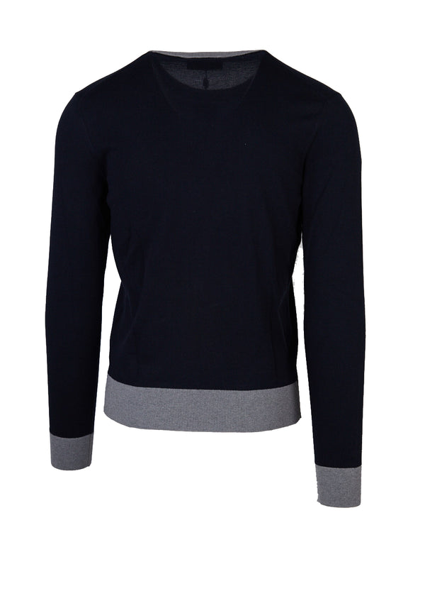 Dolce & Gabbana Mens Navy Embroidered Crown Crew Neck Sweater - Tribeca Fashion House