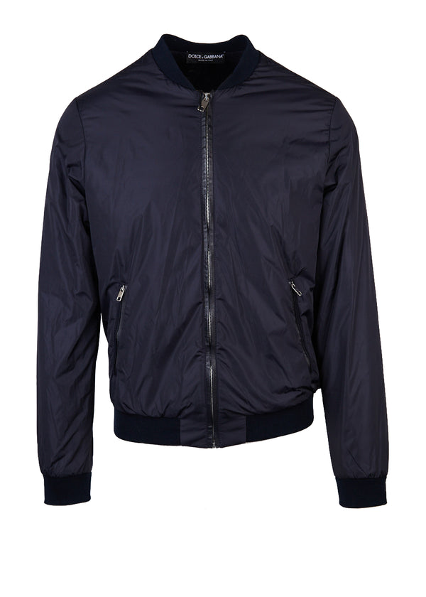 Dolce & Gabbana Mens Navy Zippered Bomber Jacket - Tribeca Fashion House