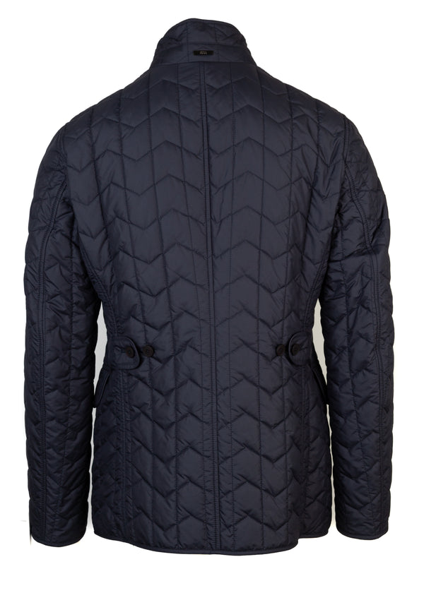 Hugo Boss Mens Navy Quilted Padded Diamond Pattern Jacket - Tribeca Fashion House