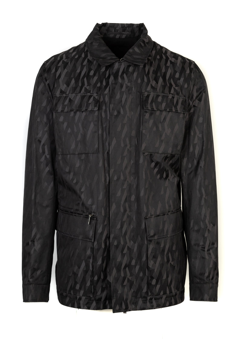 Hugo Boss Mens Grey Clanton Geometric Print Reversible Jacket - ACCESSX