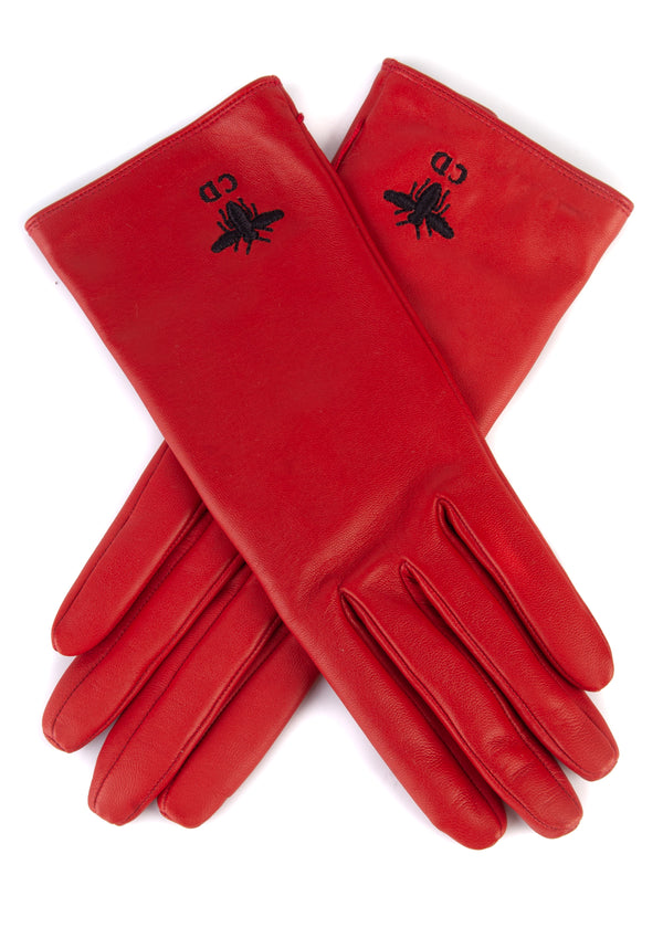 Dior Womens Red Leather Bee Logo Gloves - Tribeca Fashion House