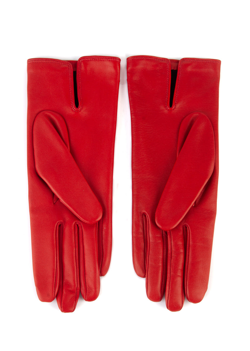 Dior Womens Red Leather Bee Logo Gloves - ACCESSX