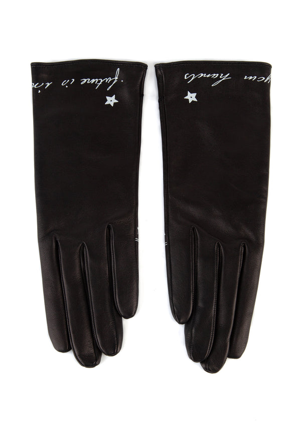 Dior Womens Black Leather Future In Your Hands Gloves - ACCESSX