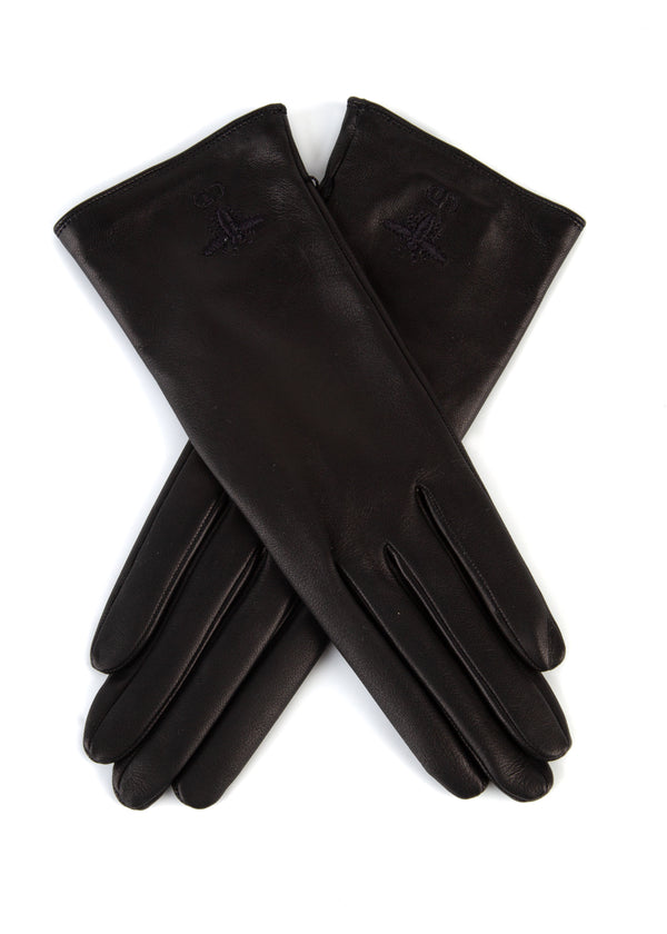 Dior Womens Black Leather Bee Logo Gloves - Tribeca Fashion House