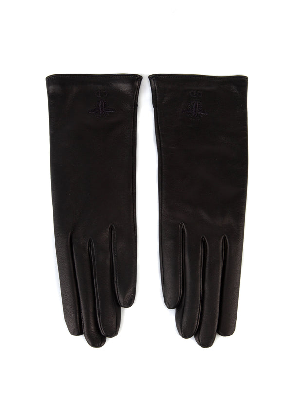 Dior Womens Black Leather Bee Logo Gloves - ACCESSX