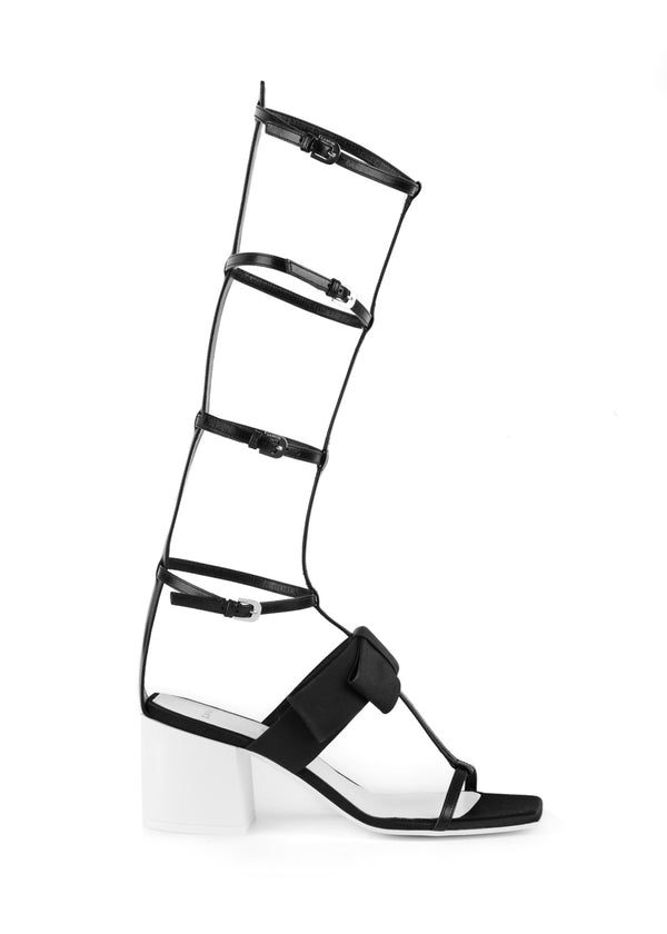 Lanvin Womens Black Gladiator Bow Heel Sandals - Tribeca Fashion House