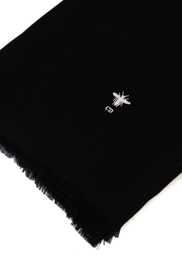 Dior Womens Black Wool Bee Logo Stole Scarf - Tribeca Fashion House