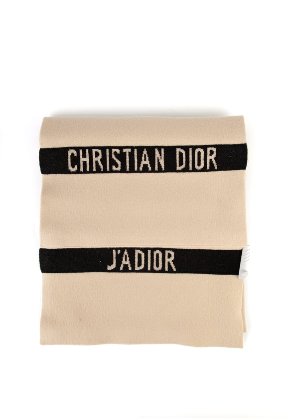 Dior Womens Beige Cashmere Knit J'adior Scarf - Tribeca Fashion House