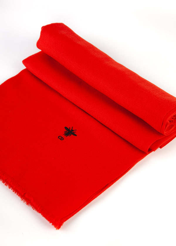 Dior Womens Red Wool Bee Logo Stole Scarf - Tribeca Fashion House