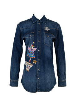 Dolce & Gabbana Womens Blue Denim Embroidered Patch Shirt - ACCESSX