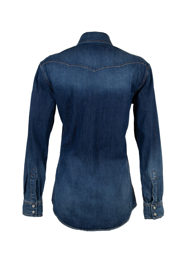 Dolce & Gabbana Womens Blue Denim Embroidered Patch Shirt - Tribeca Fashion House