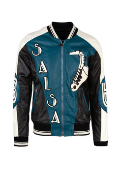 Dolce & Gabbana Mens Blue Musical Patch Leather Bomber Jacket - ACCESSX