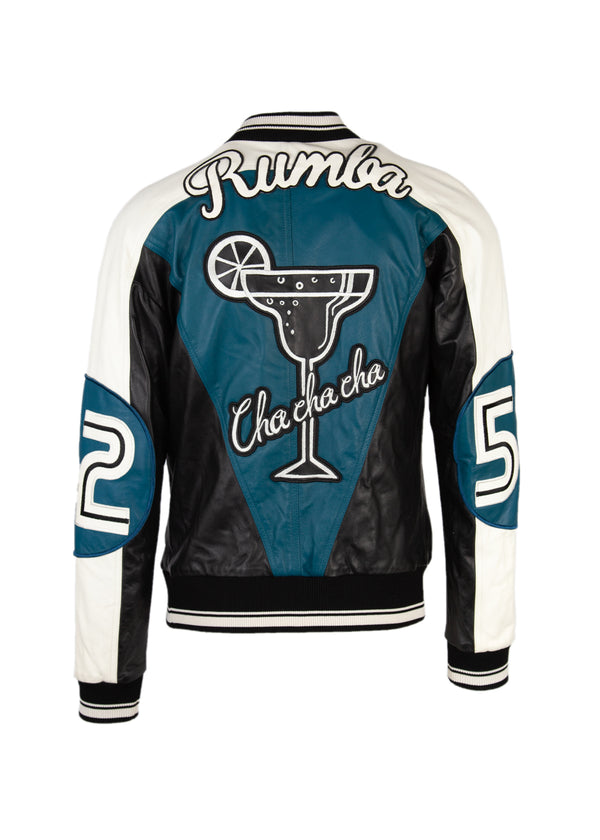 Dolce & Gabbana Mens Blue Musical Patch Leather Bomber Jacket - Tribeca Fashion House