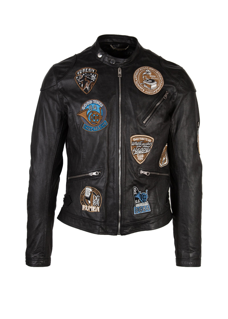 Dolce & Gabbana Mens Black Musical Patch Leather Jacket - ACCESSX