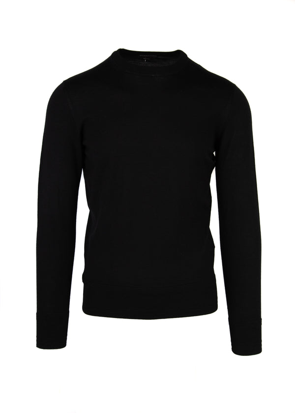 Tom Ford Mens Black Thin Knit Wool Sweater - Tribeca Fashion House