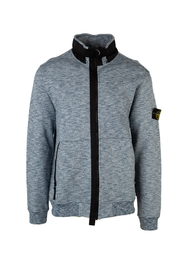 Stone Island Mens Navy Melange Zip-Up Sweater Patch on Left Sleeve - Tribeca Fashion House