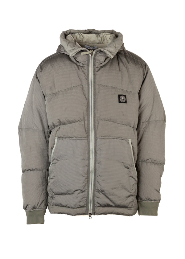 Stone Island Mens Taupe Hooded Double Collar Jacket - Tribeca Fashion House