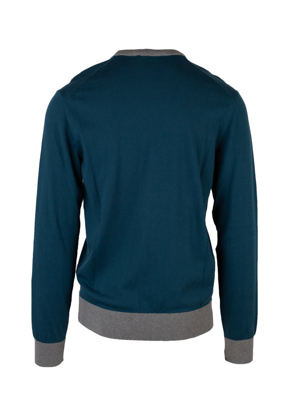 Dolce & Gabbana Mens Blue Embroidered Crown Crew Neck Sweater - Tribeca Fashion House