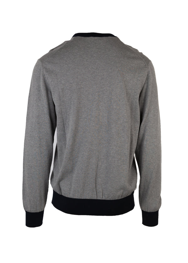 Dolce & Gabbana Mens Grey Embroidered Crown Crew Neck Sweater - Tribeca Fashion House
