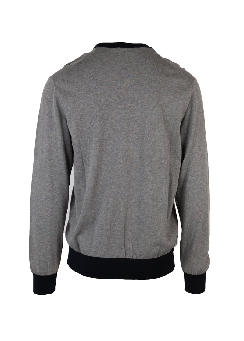 Dolce & Gabbana Mens Grey Embroidered Crown Crew Neck Sweater - ACCESSX