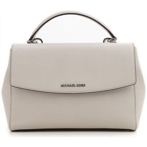 Michael Kors AVA SM TH SATCHEL Leather Hand Bag Cement Grey - Tribeca Fashion House