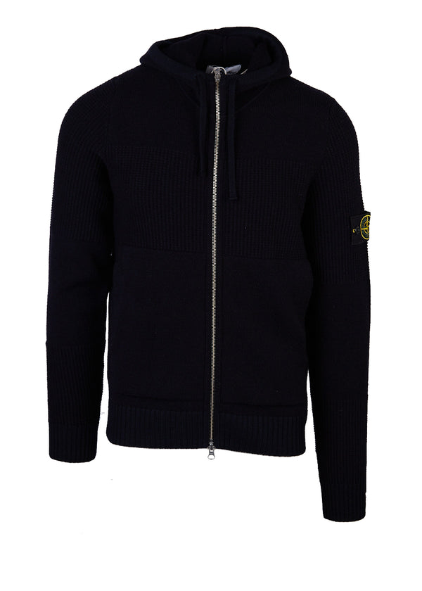 Stone Island Mens Black Zip-Up Sweater Patch on Left Sleeve - Tribeca Fashion House