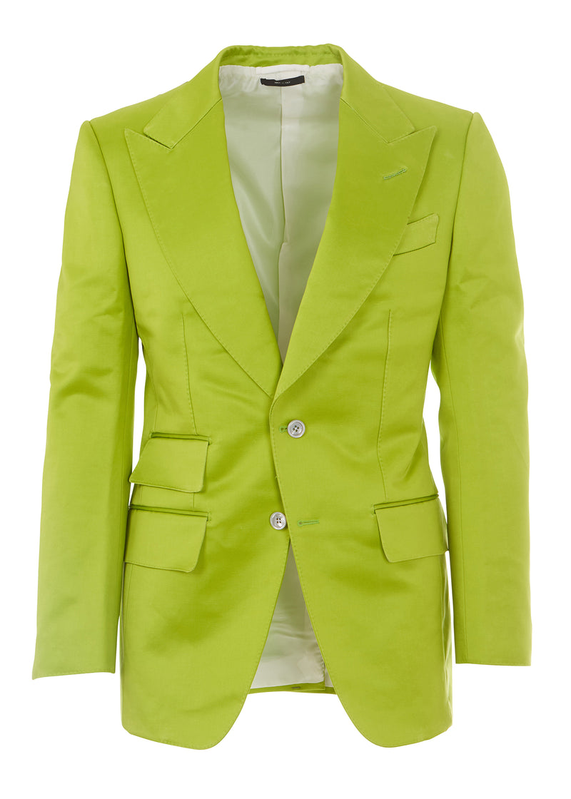 Tom Ford Men Light Green Peak Lapel Cotton Blend 2 Pc Suit - Tribeca Fashion House