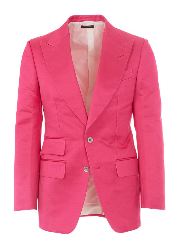 Tom Ford Mens Pink Peaked Lapel Cotton Blend 2 Pc Suit - Tribeca Fashion House