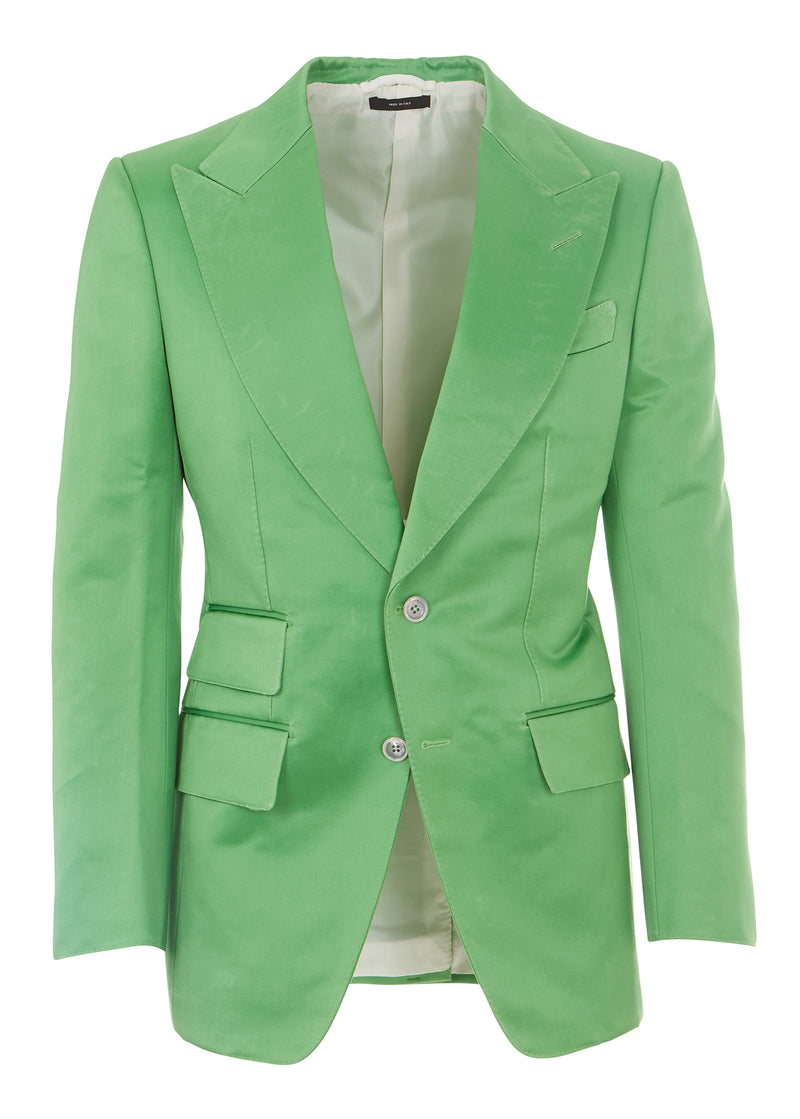 Tom Ford Men Lime Green Peaked Lapel Cotton Blend 2 Pc Suit - Tribeca Fashion House