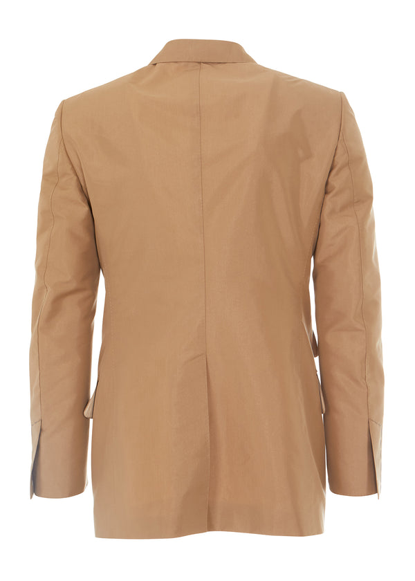 Tom Ford Mens Light Brown Cotton Blend Peaked Lapel Blazer - Tribeca Fashion House