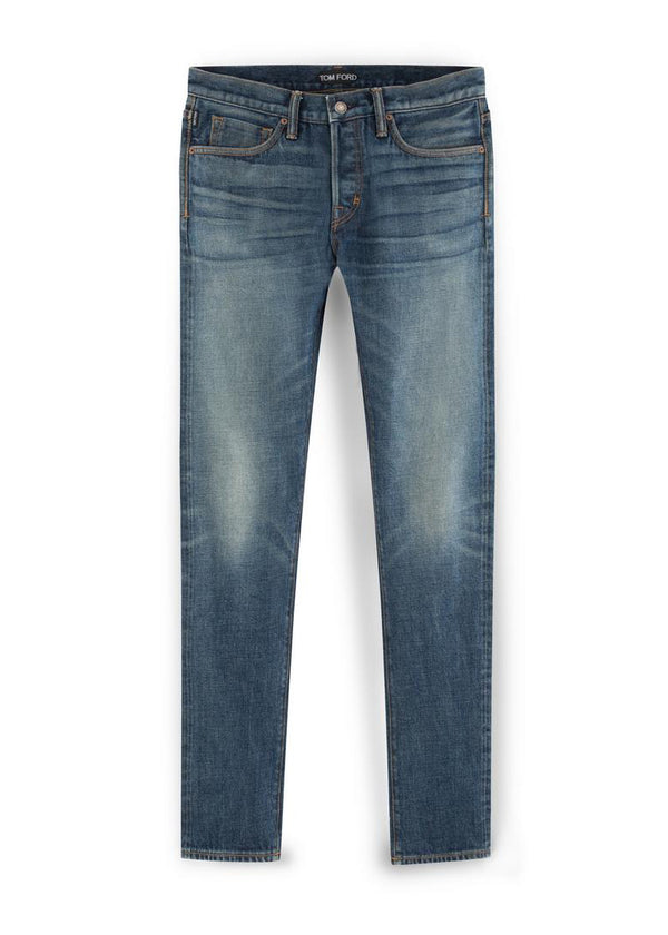 Tom Ford Mens Dark Blue Faded Wash Slim Denim Jeans  - TFD001 BLJ11 - Tribeca Fashion House