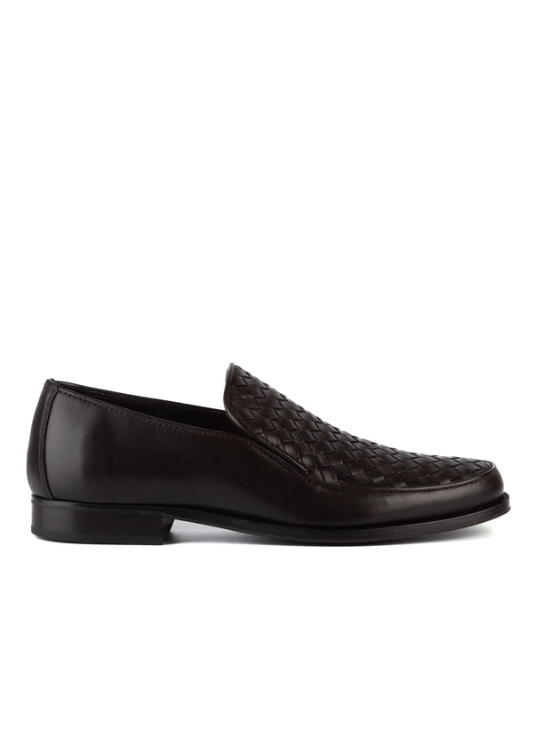 Bottega Veneta Mens Brown Anwick Woven Leather Loafers - Tribeca Fashion House
