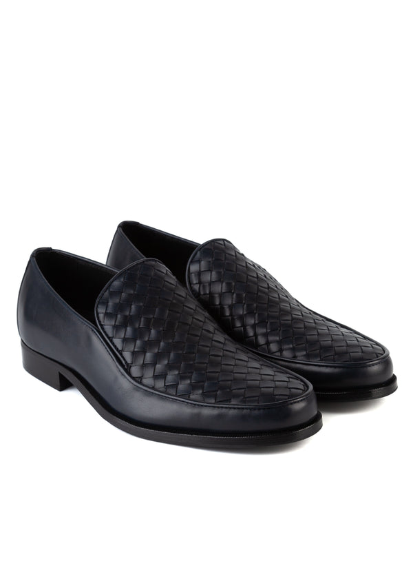 Bottega Veneta Mens Black Anwick Woven Leather Loafers - ACCESSX