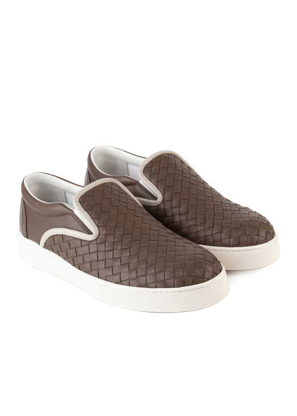 Bottega Veneta Mens Beige Dodger Slip-On Leather Sneakers - Tribeca Fashion House