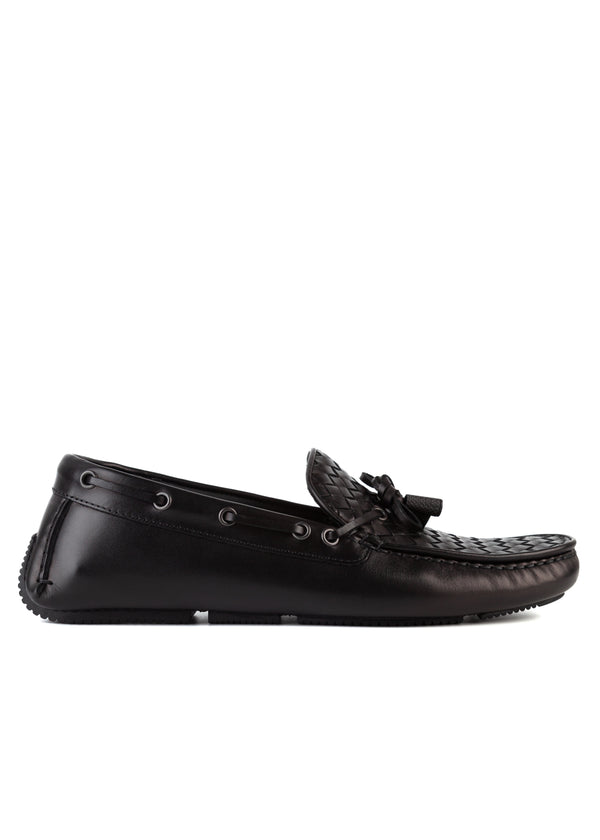 Bottega Veneta Mens Black Intrecciato Woven Leather Loafers - Tribeca Fashion House