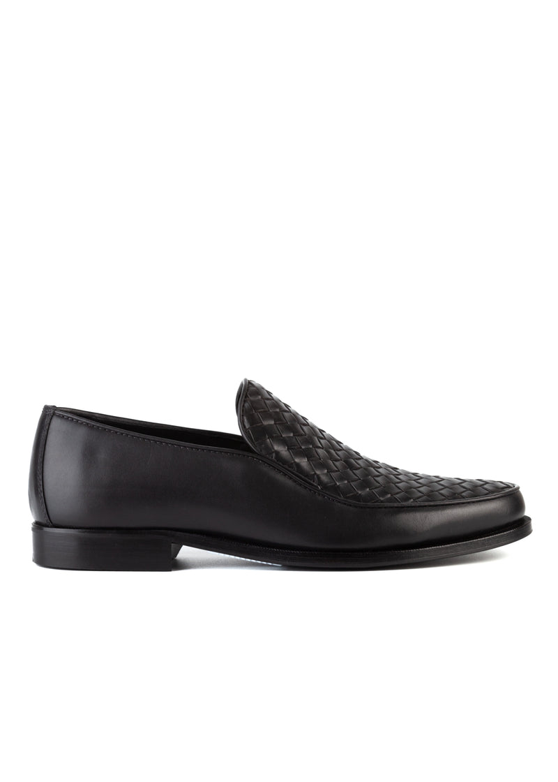 Bottega Veneta Mens Grey Anwick Woven Leather Loafers - ACCESSX