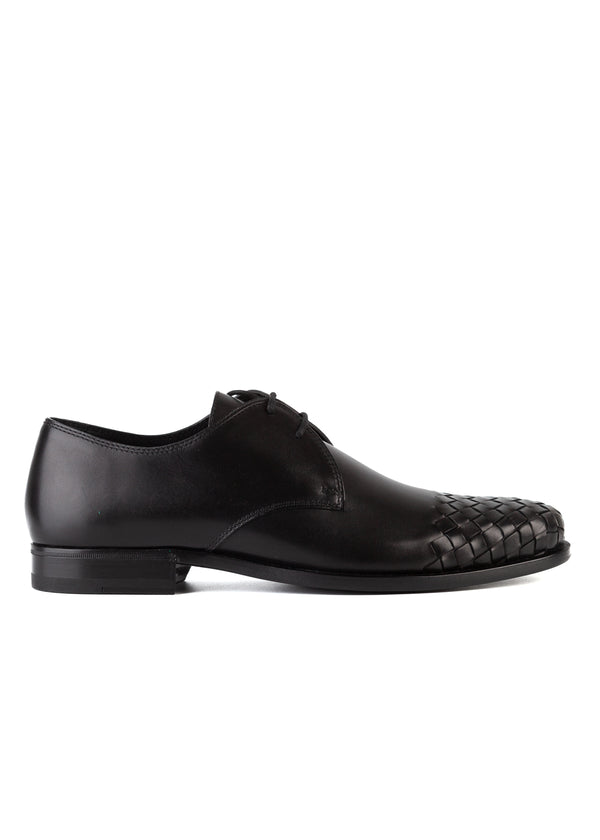 Bottega Veneta Mens Black Intrecciato Leather Luton Derby Dress Shoes - ACCESSX