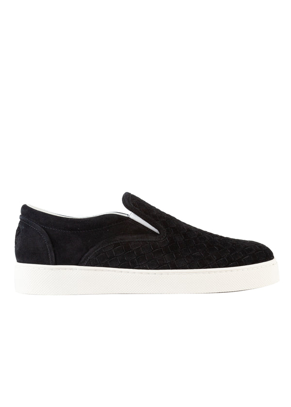 Bottega Veneta Mens Black Intrecciato Suede Slip on Skate Sneakers - Tribeca Fashion House