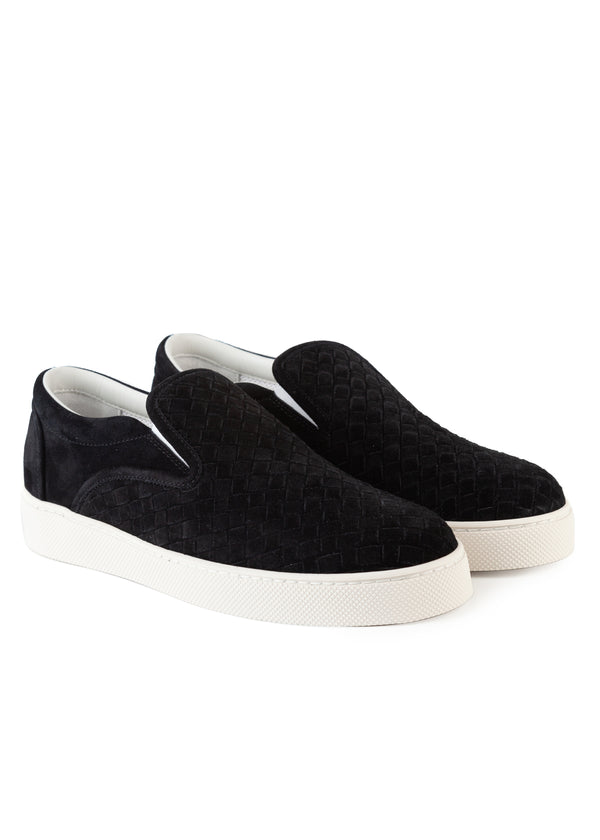 Bottega Veneta Mens Black Intrecciato Suede Slip on Skate Sneakers