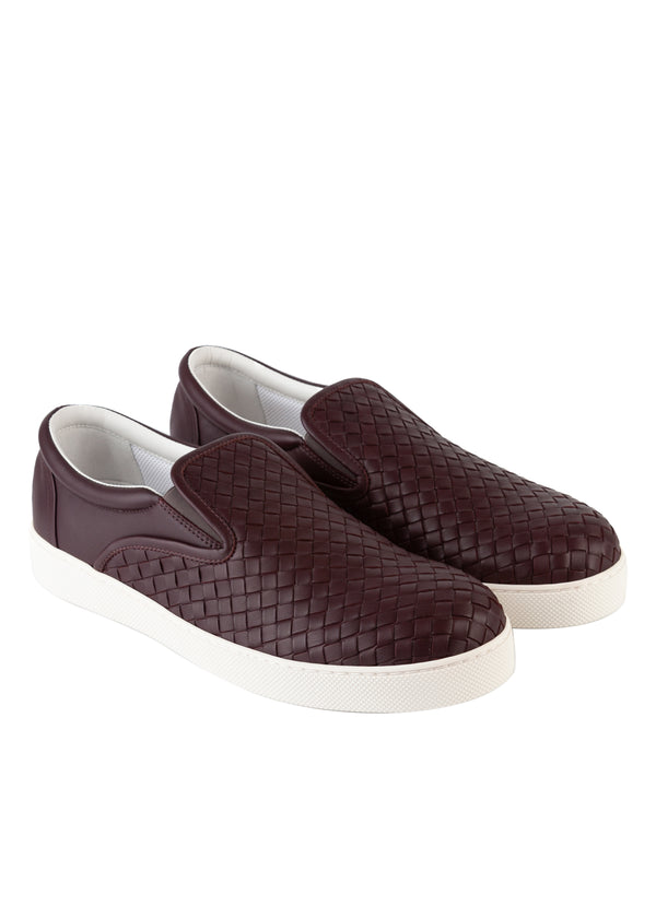 Bottega Veneta Mens Burgundy Dodger Slip-On Leather Sneakers - Tribeca Fashion House