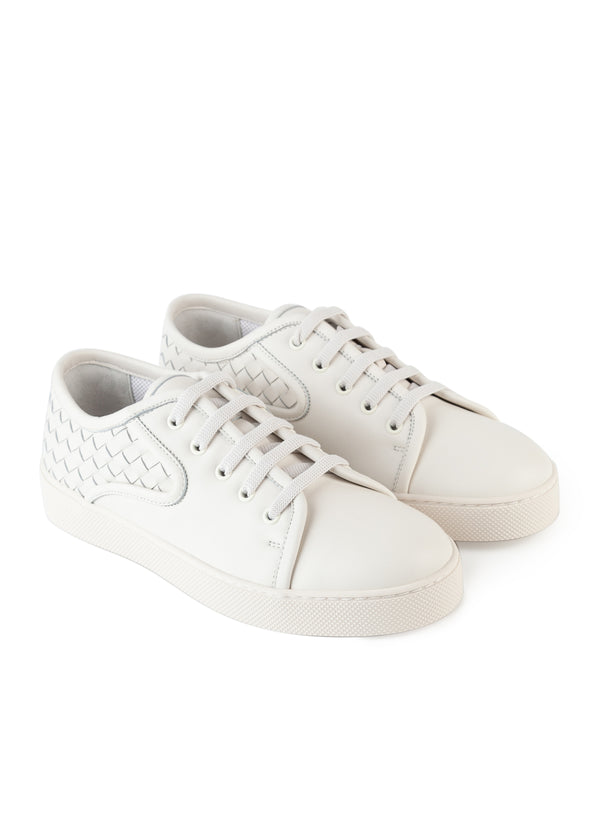 Bottega Veneta Mens White Dodger Intrecciato Lace-Up Sneakers - Tribeca Fashion House