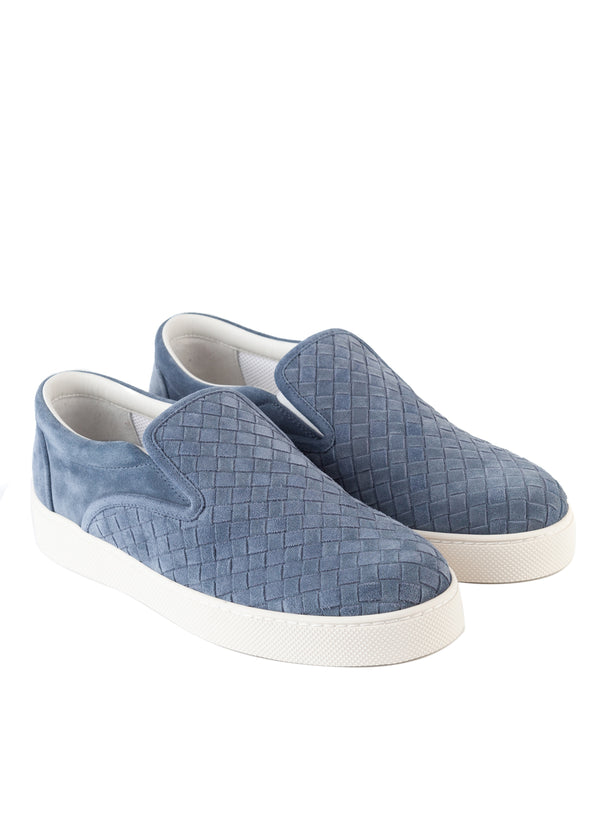 Bottega Veneta Mens Blue Dodger Slip-On Suede Sneakers - Tribeca Fashion House