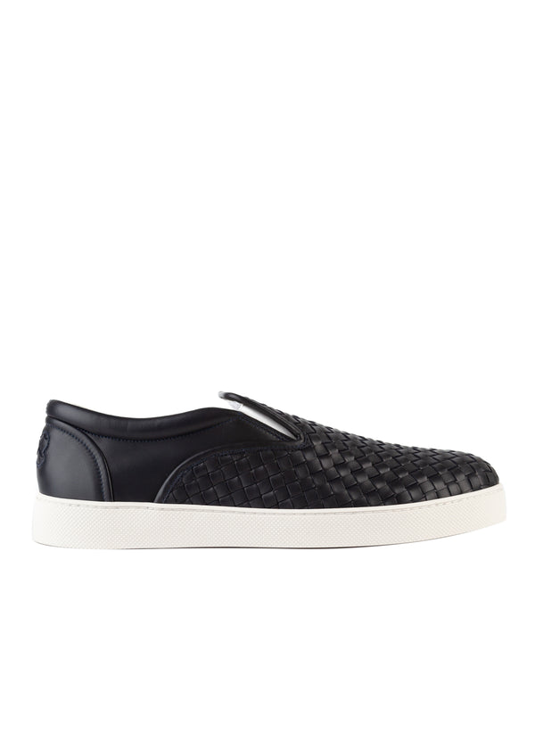 Bottega Veneta Men's Navy Woven Leather Slip on Dodger Sneakers - Tribeca Fashion House
