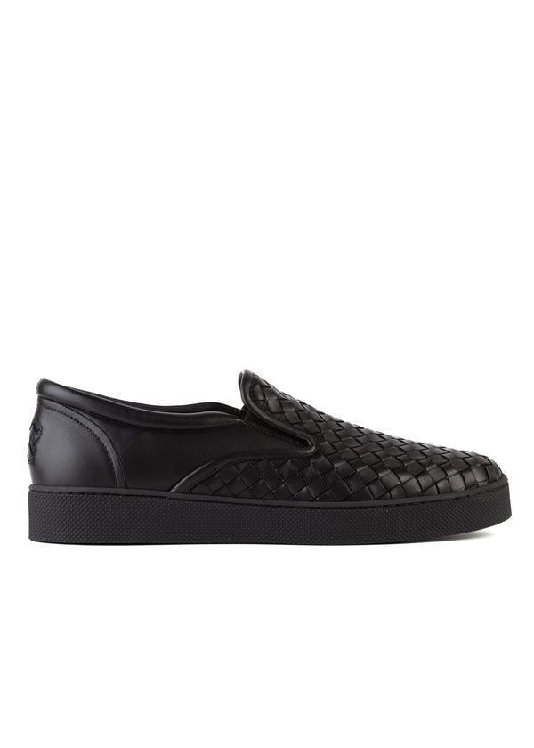 Bottega Veneta Mens Black Dodger Slip-On Leather Sneakers - Tribeca Fashion House